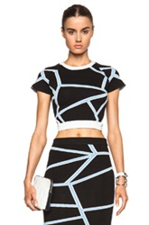 Jonathan Simkhai Crop Top In Black Blue Abstract