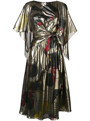 Chalayan Cape Tie Dress Gold