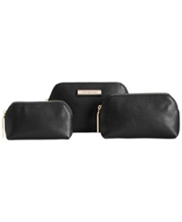 Tommy Hilfiger Th Signature Coin 3 In 1 Textured Leather Dome Cosmetics Case Black
