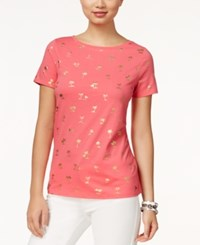 Tommy Hilfiger Metallic Palm Tree Graphic T Shirt Coral