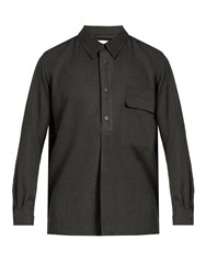 Christophe Lemaire Cotton And Cashmere Blend Shirt Dark Grey