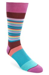 Bugatchi Men's 'Thin Stripe Bold Stripe' Socks Bordeaux