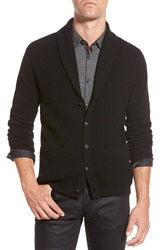 John Varvatos Star Usa Waffle Knit Shawl Cardigan Black