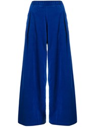 Semicouture Wide Leg Trousers Blue