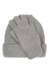 Topshop Cashmere Beanie And Glove Set Grey