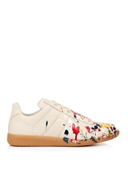 Maison Martin Margiela Paint Splatter Leather Low Top Trainers