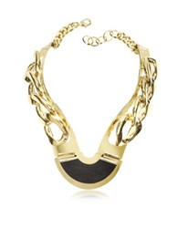 Pluma Gold Plated Brass And Black Leather Collar Chain Necklace