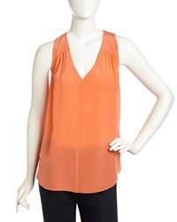 Rebecca Taylor Sleeveless Studded Chiffon Blouse Orange Blossom