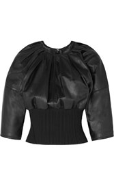 3.1 Phillip Lim Ribbed Knit Trimmed Gathered Leather Top Black