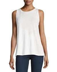 Theory Roll Stitch Airy Linen Tank Top White