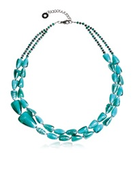Antica Murrina Veneziana Marina 1 Double Turquoise Green Murano Glass And Silver Leaf Necklace