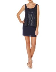 Laundry By Shelli Segal Embellished Popover Dress Midnight Blue