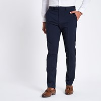 River Island Dark Blue Stretch Slim Fit Suit Trousers