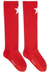 Givenchy Star Intarsia Knitted Socks Red