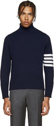 Thom Browne Navy Cashmere Turtleneck