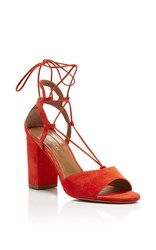 Aquazzura Austin Suede Sandals Red