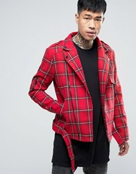 Sixth June Tartan Biker Jacket Red