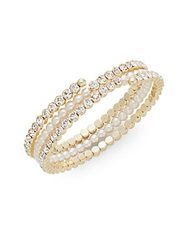 Cara Glass Stone And Pearl Coil Bracelet Goldtone