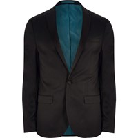 River Island Big And Tall Black Slim Fit Suit Jacket