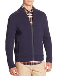 Lacoste Long Sleeve Hybrid Cut And Sewn Sweater Navy Blue