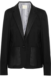 Band Of Outsiders Leather Trimmed Wool Twill Blazer