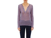 Barneys New York Women's Striped Long Sleeve T Shirt Navy Pink