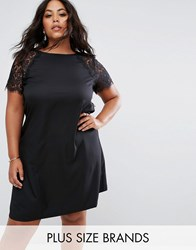 Praslin Swing Dress With Lace Sleeves Black