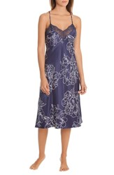 In Bloom By Jonquil Etched Flowers Nightgown Navy Mono Floral