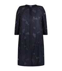 Basler Floral Jacquard Long Coat Female Blue