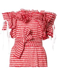 Rosie Assoulin Gingham Ruffled Top Red