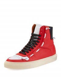 Givenchy Urban Whipstitch High Top Sneaker Red White Black Multi