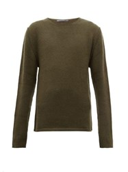 Denis Colomb Ribbed Sleeves Cashmere Sweater Khaki