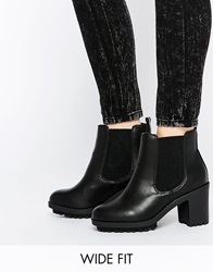 New Look Wide Fit Heeled Ankle Boots Black