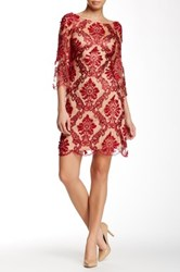Marchesa Elbow Length Sleeve Lace Dress Red