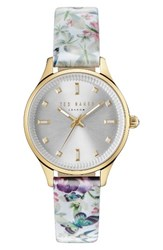 Ted Baker Women's London Zoe Round Leather Strap Watch 32Mm