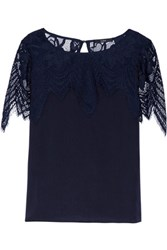 Tart Collections Tamara Crochet Knit Paneled Satin Blouse Midnight Blue