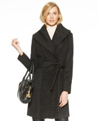 Calvin Klein Shawl Collar Boucle Knit Wrap Coat Charcoal