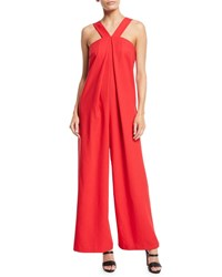 Jax Wide Leg Pleated Front Jumpsuit Red