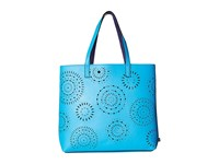 Echo Laser Cut Tote Turquoise Tote Handbags Blue