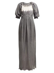 Thierry Colson Daria Ruffle Trimmed Cotton Blend Maxi Dress Grey White