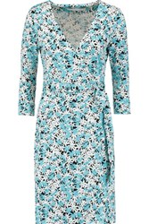 Diane Von Furstenberg Julian Wrap Effect Printed Cotton And Silk Blend Dress Turquoise
