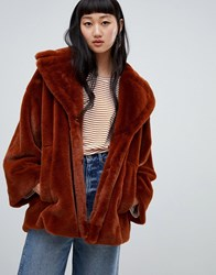 Weekday Super Soft Faux Fur Coat In Brown