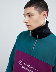 Mennace Oversized Retro Sweat With Chest Logo In Teal Green