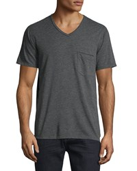 7 For All Mankind Raw Edge V Neck Tee Heather Gray Men's