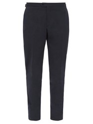 Thom Sweeney Tailored Cotton Twill Slim Leg Trousers Navy