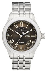Ball 'Trainmaster Roman' Bracelet Watch 40Mm Silver Grey