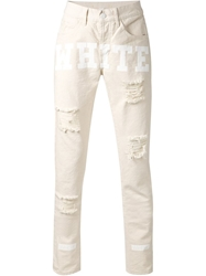 Off White Front Print Distressed Jeans Nude And Neutrals