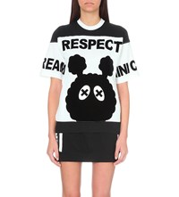 Mini Cream Respect Print Cotton Jersey T Shirt White