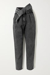 Iro Repu Cropped Belted Acid Wash High Rise Tapered Jeans Dark Gray