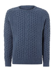 Linea Redmayne Limited Edition Cable Crew Neck Knitwear Light Blue